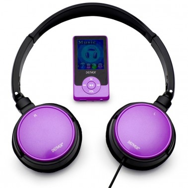 MP4-Player mit Kopfhörer Spieler Headset FM-Radio MP3 2GB Denver MPG-2042C violett