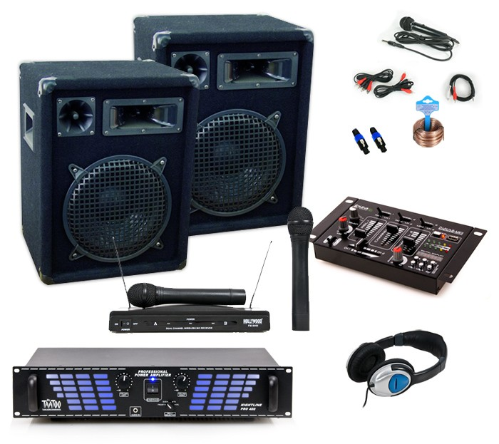 dj pa set boxen verst rker mixer funkmikrofon kabel usb mp3 mischpult endstufe ebay. Black Bedroom Furniture Sets. Home Design Ideas