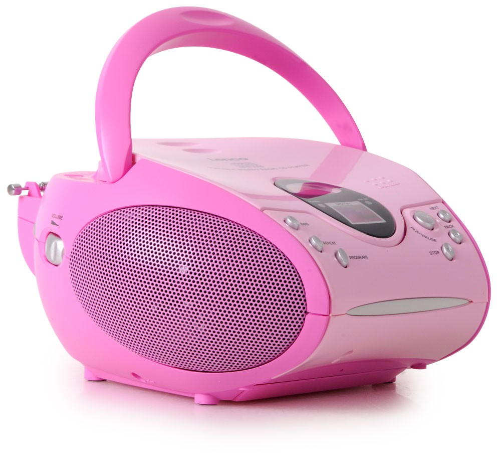 kinder stereoanlage pink tragbar cd player radio kinderanlage rosa musikanlage ebay. Black Bedroom Furniture Sets. Home Design Ideas
