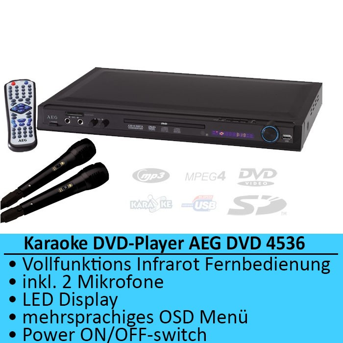 karaok lecteur dvd cd d gradation sd mp3 usb aeg dvd 4536 ebay. Black Bedroom Furniture Sets. Home Design Ideas
