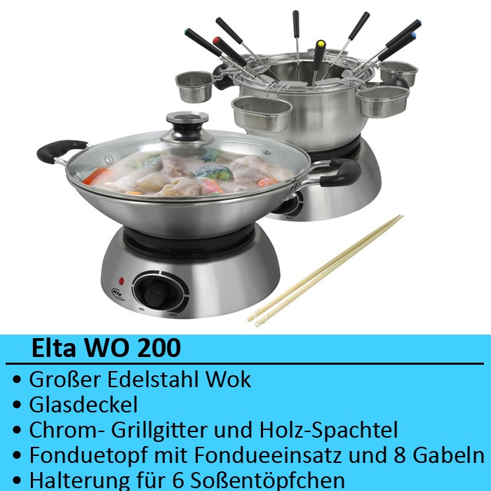 luxus elektro wok fondue wok set party fonduetopf gabel ebay. Black Bedroom Furniture Sets. Home Design Ideas