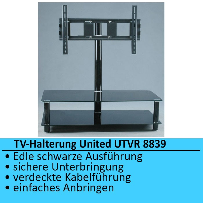 luxus tv m bel halterung glas aluminium united tv rack ebay. Black Bedroom Furniture Sets. Home Design Ideas
