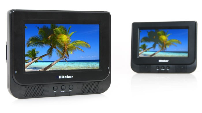 auto set dvd player portable 2x 7 lcd display pdd 744. Black Bedroom Furniture Sets. Home Design Ideas