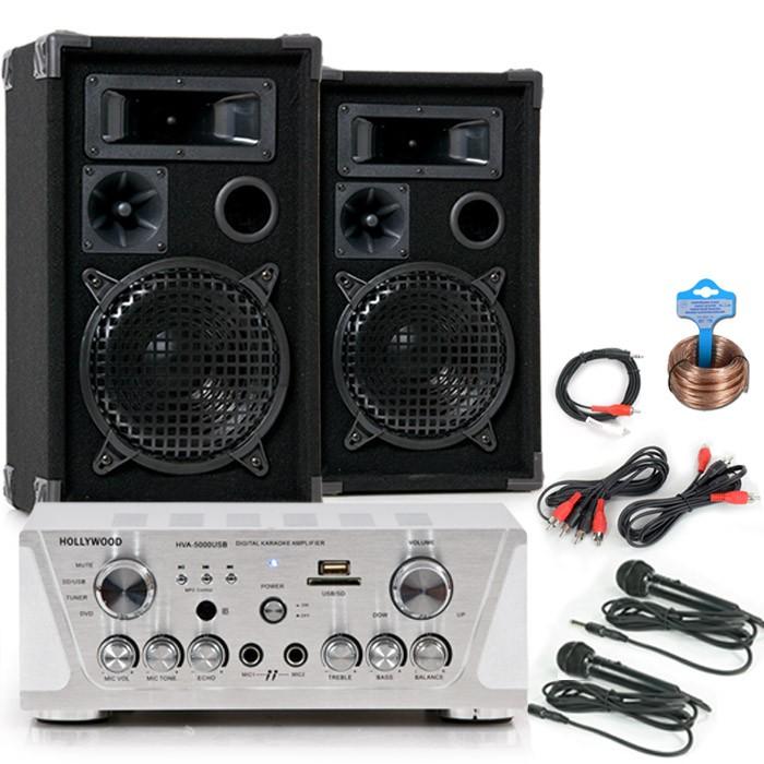 Karaoke-Partyanlage-USB-Musikanlage-PA-Lautsprecher-HIFI-Verstarker-Boxen-DJ-558