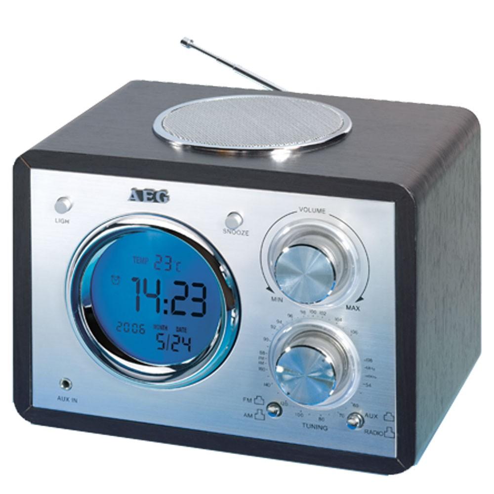aeg radiowecker retro design uhrenradio miniradio aux in lcd display schwarz neu ebay. Black Bedroom Furniture Sets. Home Design Ideas