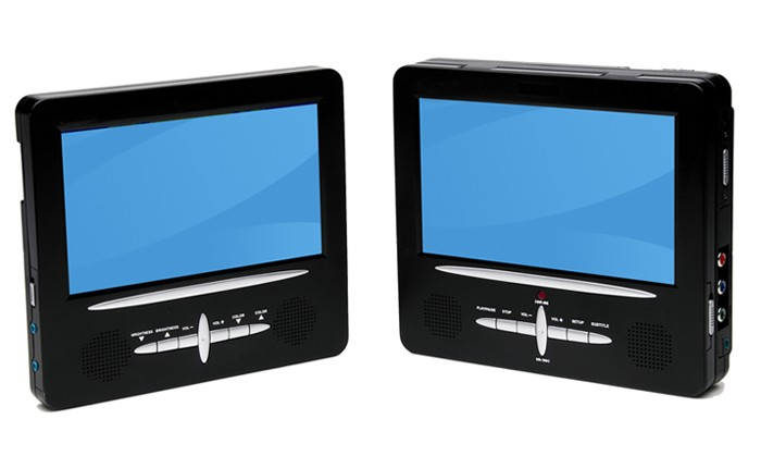 auto autoreise set dvd player 2x display tragbar usb sd ebay. Black Bedroom Furniture Sets. Home Design Ideas