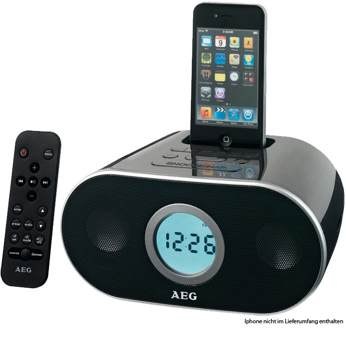 uhrenradio radiowecker iphone ipod dock fb aeg src 4333. Black Bedroom Furniture Sets. Home Design Ideas