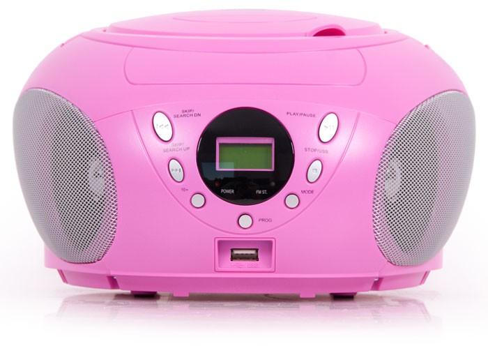boomblaster cd player radio cd spieler usb aux mp3 kinder anlage tragbar pink ebay. Black Bedroom Furniture Sets. Home Design Ideas