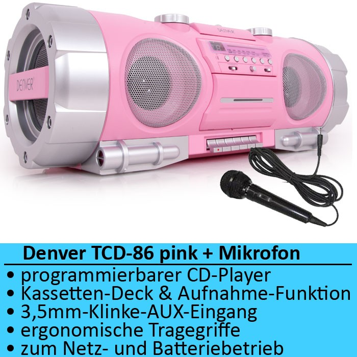 ghettoblaster cd player radio tuner batterie mikrofon. Black Bedroom Furniture Sets. Home Design Ideas