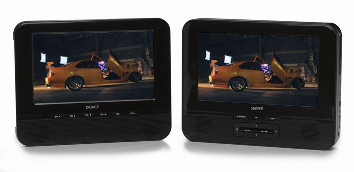 tragbarer auto dvd player 2 monitore usb cd mp3 jpeg ebay. Black Bedroom Furniture Sets. Home Design Ideas