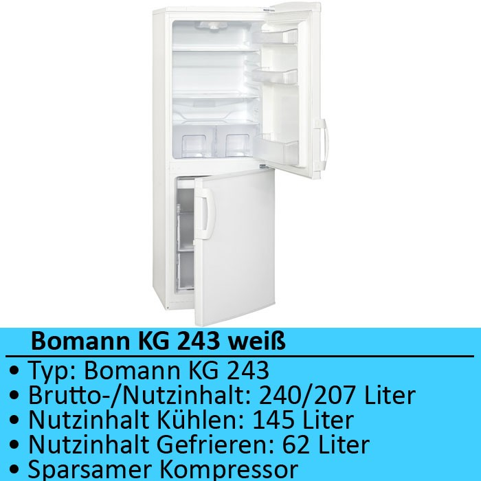 Kuehlschrank Kuehl Gefrierkombination 207 Liter Bomann Kg 243 Weiss