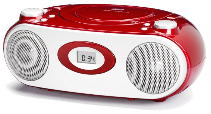 stereo radio mit cd player metallic rot k chenradio radio k che lcd anzeige aux ebay. Black Bedroom Furniture Sets. Home Design Ideas