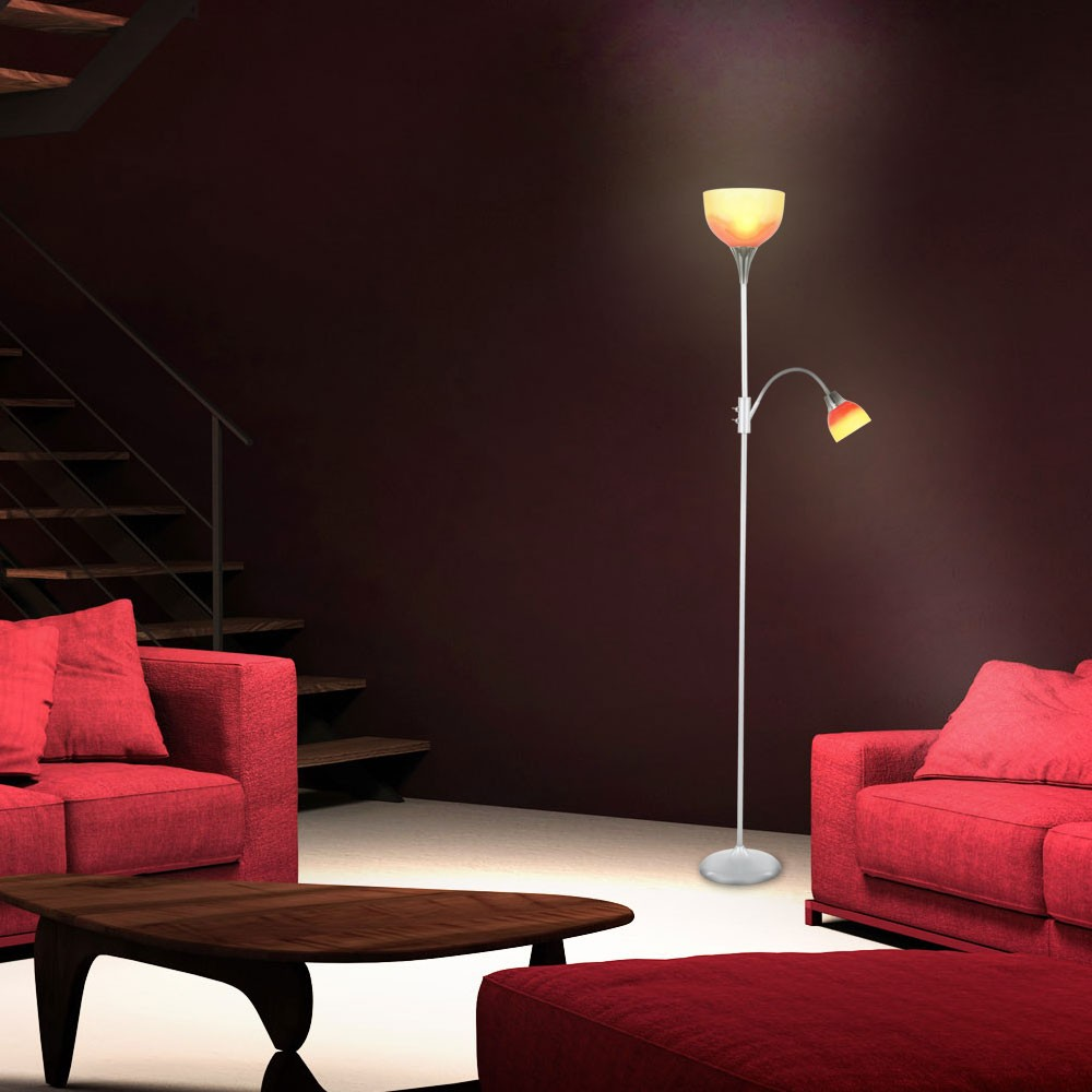 standleuchte silber chrom deckenfluter stehlampe orange roter schirm standlampe ebay. Black Bedroom Furniture Sets. Home Design Ideas