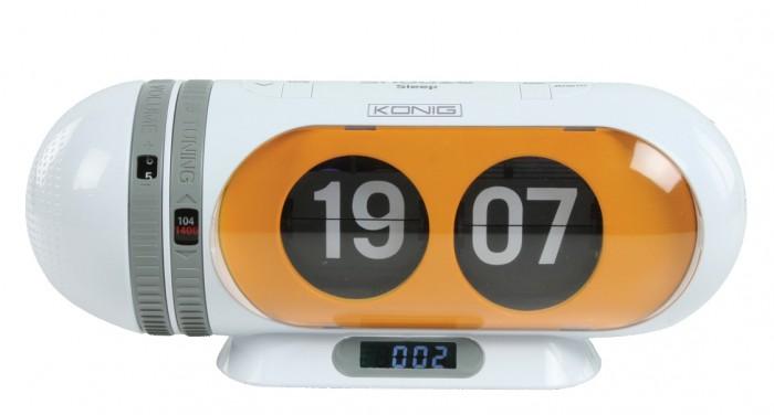 konig digital flip clock radio alarm clock orange ebay. Black Bedroom Furniture Sets. Home Design Ideas
