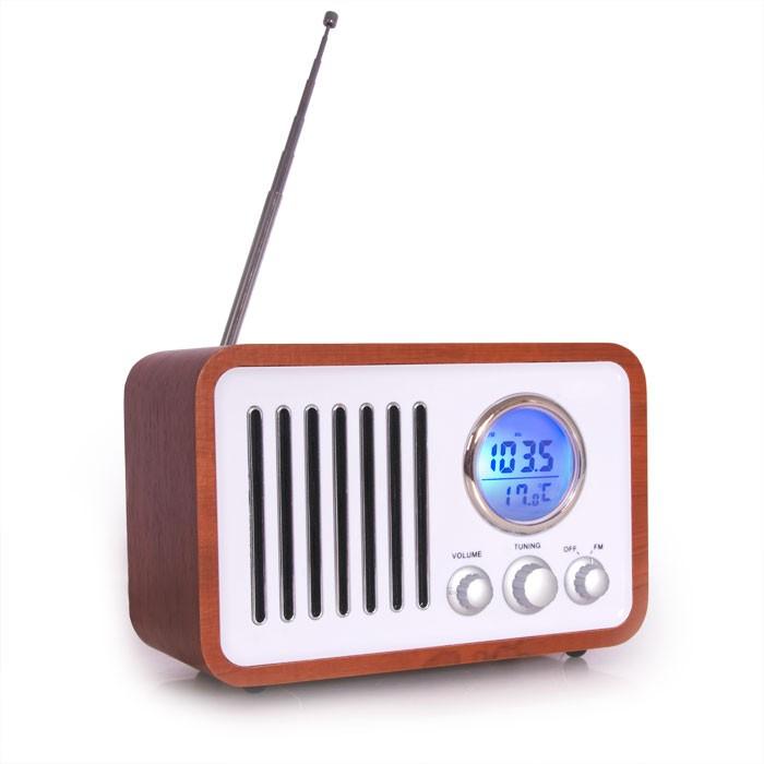 miniradio holz design radio innenthermometer uhrenradio radiowecker radiotuner ebay. Black Bedroom Furniture Sets. Home Design Ideas