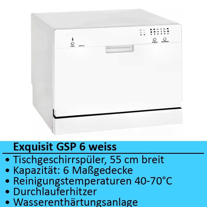 Tisch-Geschirrspueler-Spuelmaschine-Geschirrspuelmaschine-Exquisit-GSP-6-weiss