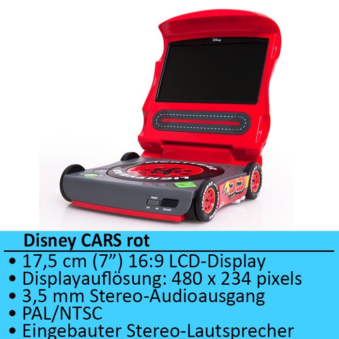 kinder dvd player disney cars design jungen lcd tragbar. Black Bedroom Furniture Sets. Home Design Ideas