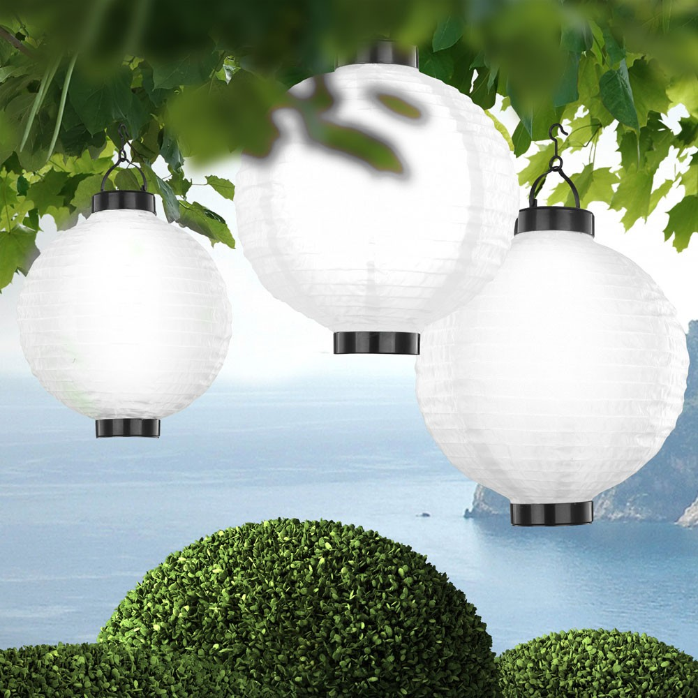 3er set led solarlampen gartenbeleuchtung lampe h ngeleuchte lampion au enlampe ebay. Black Bedroom Furniture Sets. Home Design Ideas