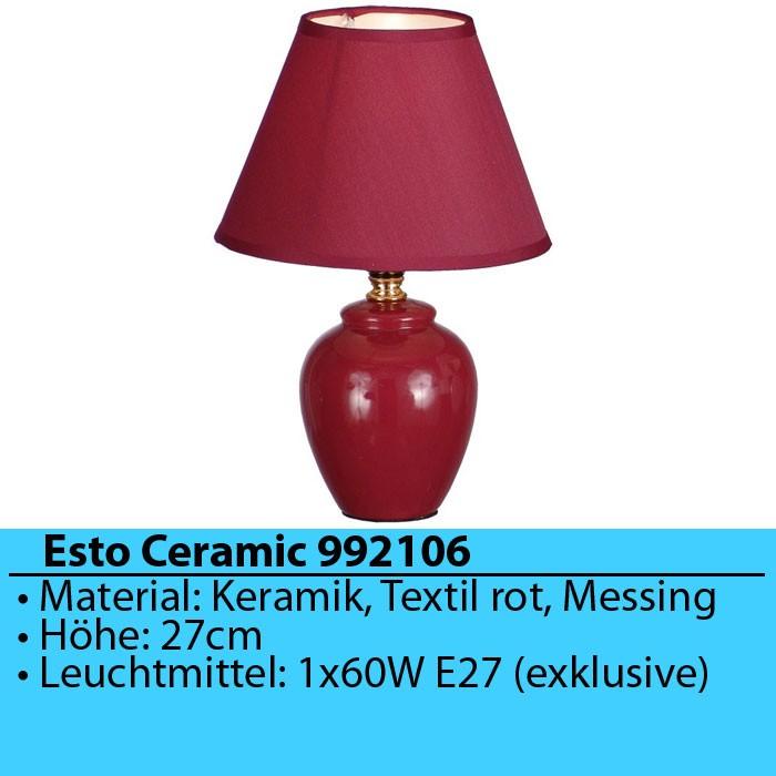Tischleuchte Tischlampe Nachttischlampe Schlafzimmer Rot