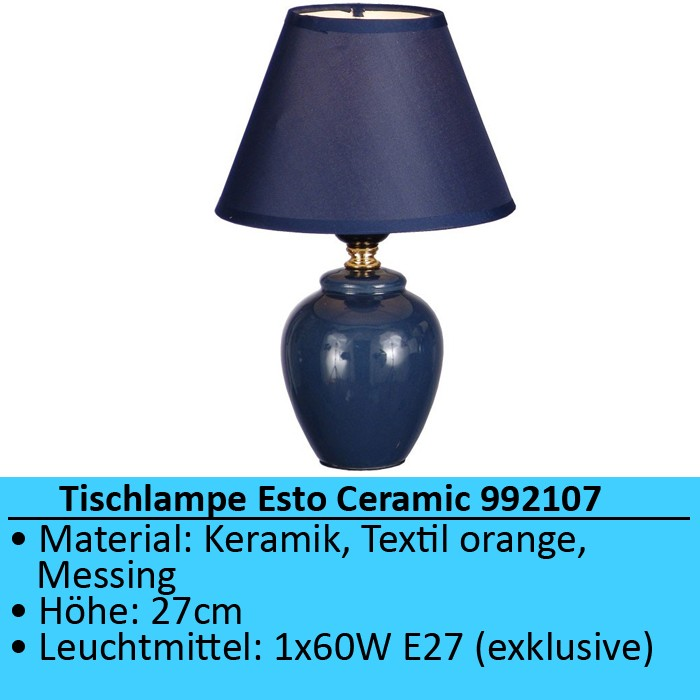 Tischleuchte tischlampe nachttischlampe schlafzimmer blau - Tischlampe schlafzimmer ...