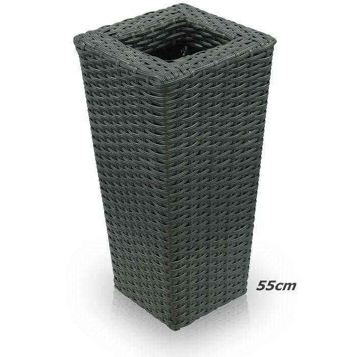 rattan bertopf kunststoff blumenk bel grau garten blumentopf blumen k bel 55cm ebay. Black Bedroom Furniture Sets. Home Design Ideas