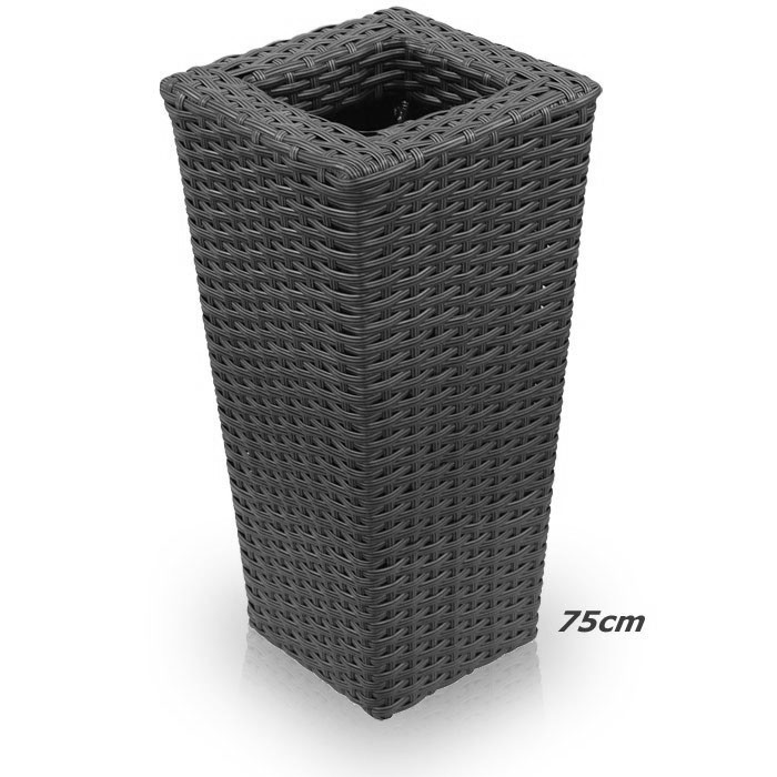 gro er rattan bertopf kunststoff polyrattan blumentopf schwarz k bel 75cm ebay. Black Bedroom Furniture Sets. Home Design Ideas