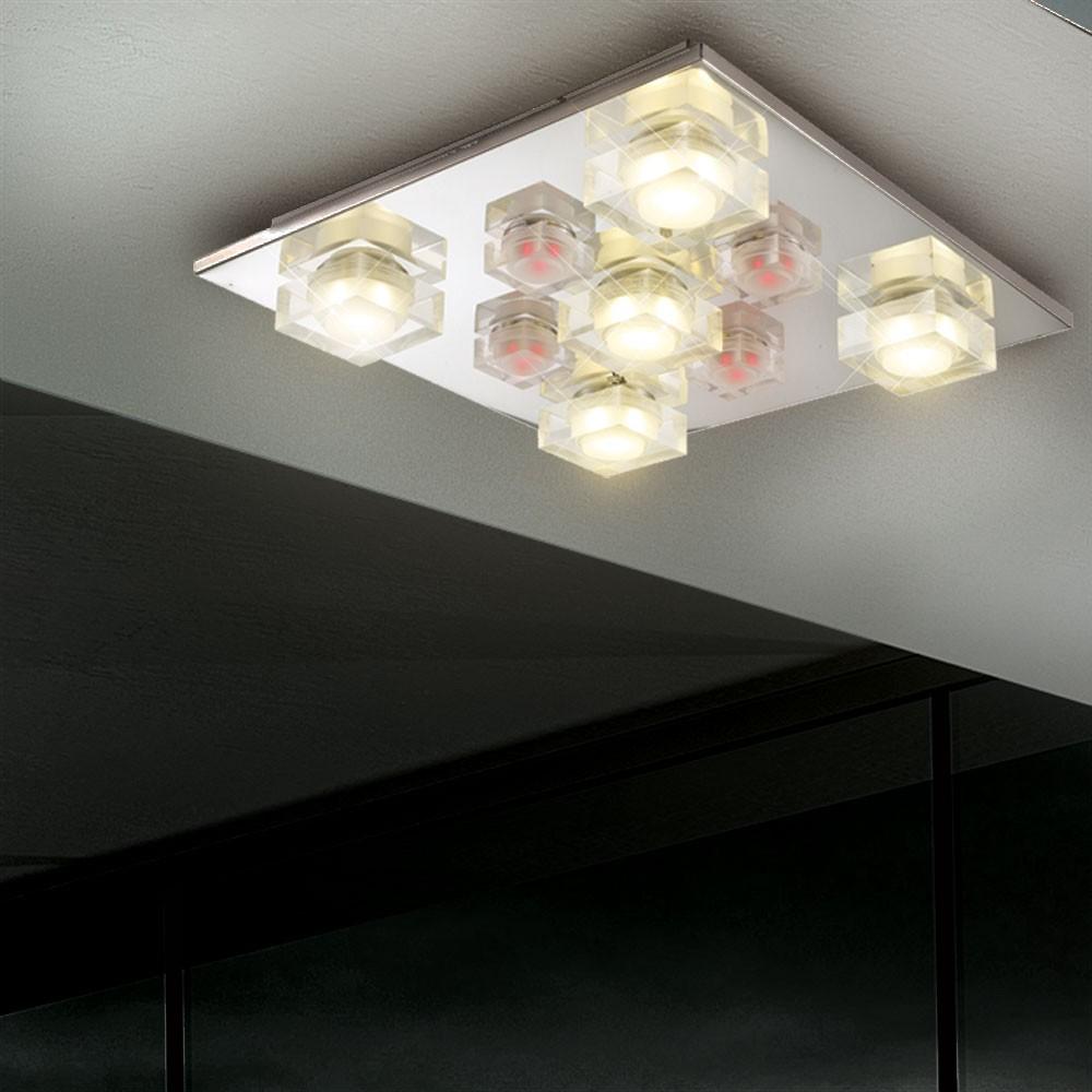 led deckenleuchte deckenlampe wohnzimmer beleuchtung spots effektleuchte chrom ebay. Black Bedroom Furniture Sets. Home Design Ideas