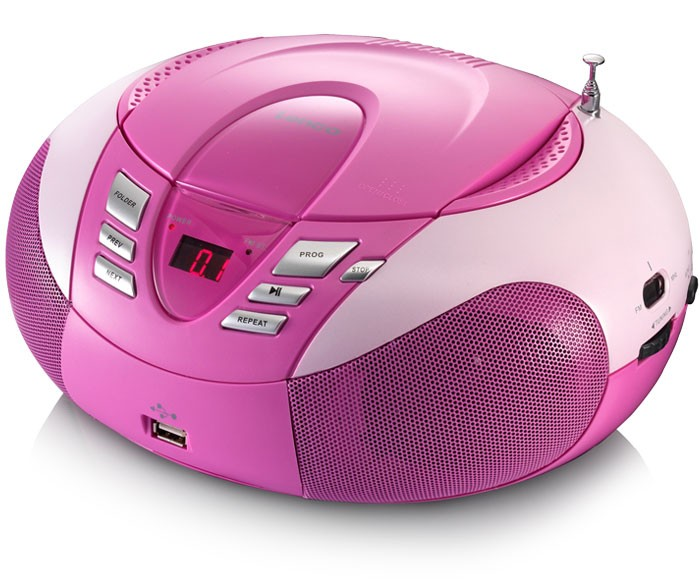 kinder mp3 cd player radio usb boom box stereo musik anlage lenco scd37 usb pink ebay. Black Bedroom Furniture Sets. Home Design Ideas