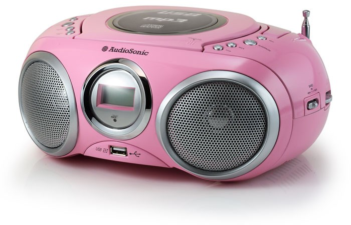 stereoanlage kinder boombox tragbar radio cd mp3 player usb tristar cd 1572 rosa ebay. Black Bedroom Furniture Sets. Home Design Ideas