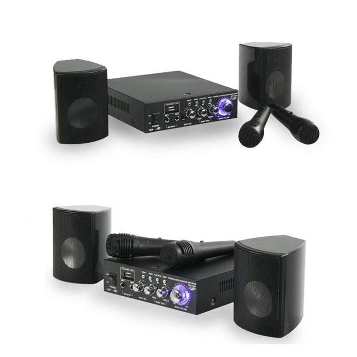 2x 100w boxen karaoke party set verst rker mikrofone usb. Black Bedroom Furniture Sets. Home Design Ideas