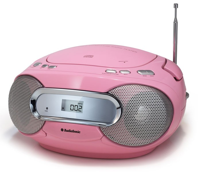 kinder m dchen cd radio player kinder boombox rosa. Black Bedroom Furniture Sets. Home Design Ideas