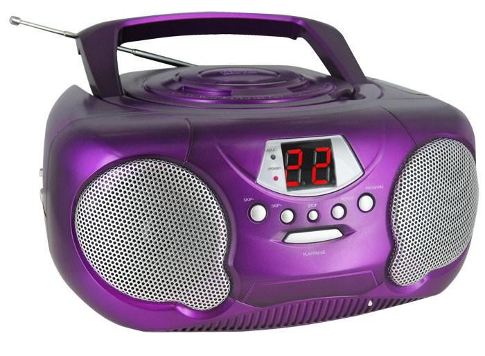 neu cd player tragbar radio tuner kinderzimmer stereoanlage hifi anlage violett ebay. Black Bedroom Furniture Sets. Home Design Ideas