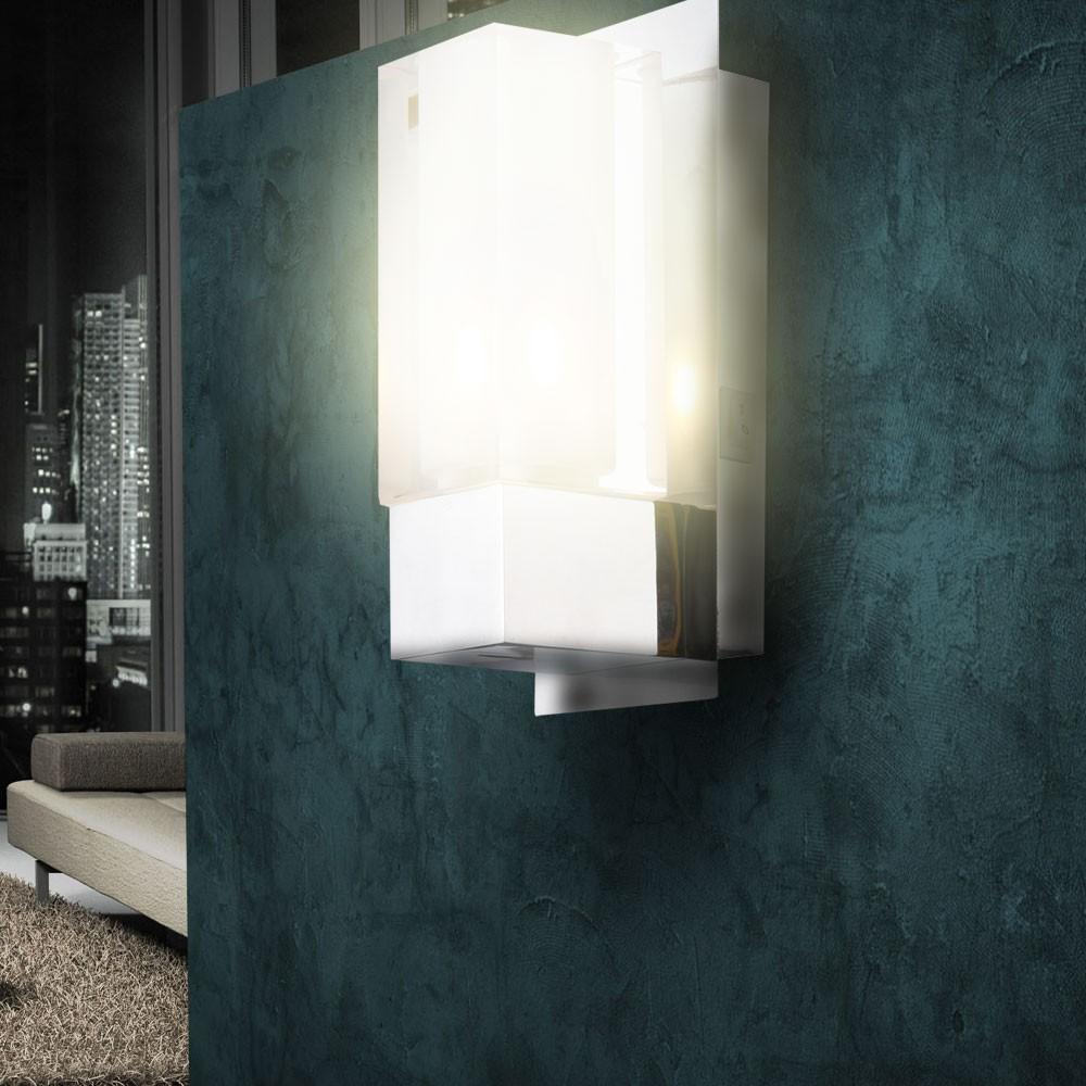 design wandleuchte flur beleuchtung edelstahl glas flur diele beleuchtung lampe ebay. Black Bedroom Furniture Sets. Home Design Ideas