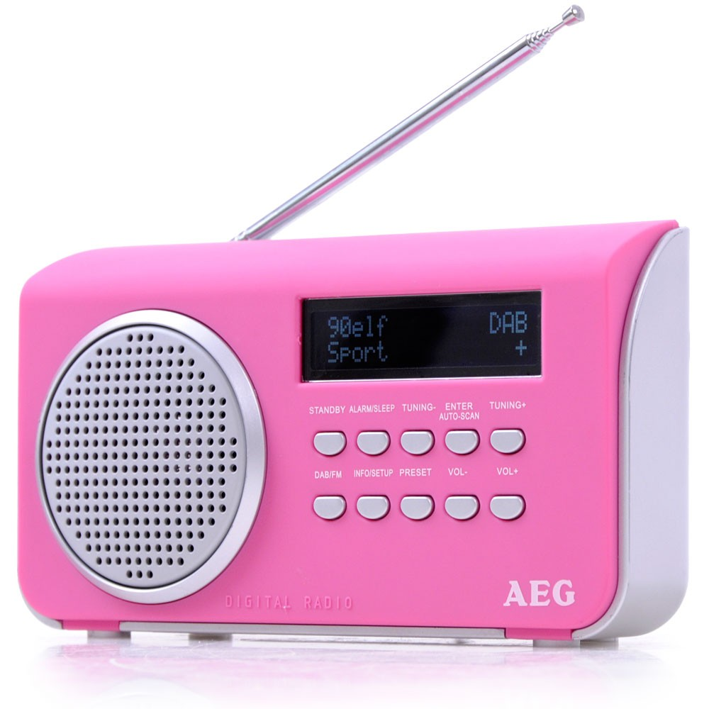 dab clock radio aux in digital music portable display aeg dab 4130 pink audio hifi radios. Black Bedroom Furniture Sets. Home Design Ideas