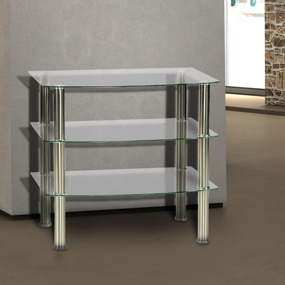 regalsystem glastisch glasplatte glasregal fernsehregal tv regal tisch glasregal ebay. Black Bedroom Furniture Sets. Home Design Ideas