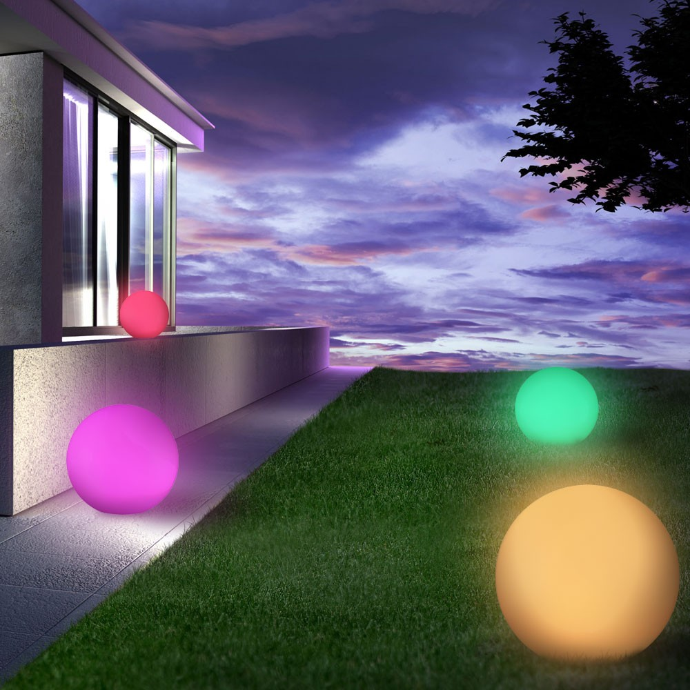led kugel gartenleuchte mit farbwechsel effekt kunststoffkugel ip65 au enleuchte ebay. Black Bedroom Furniture Sets. Home Design Ideas