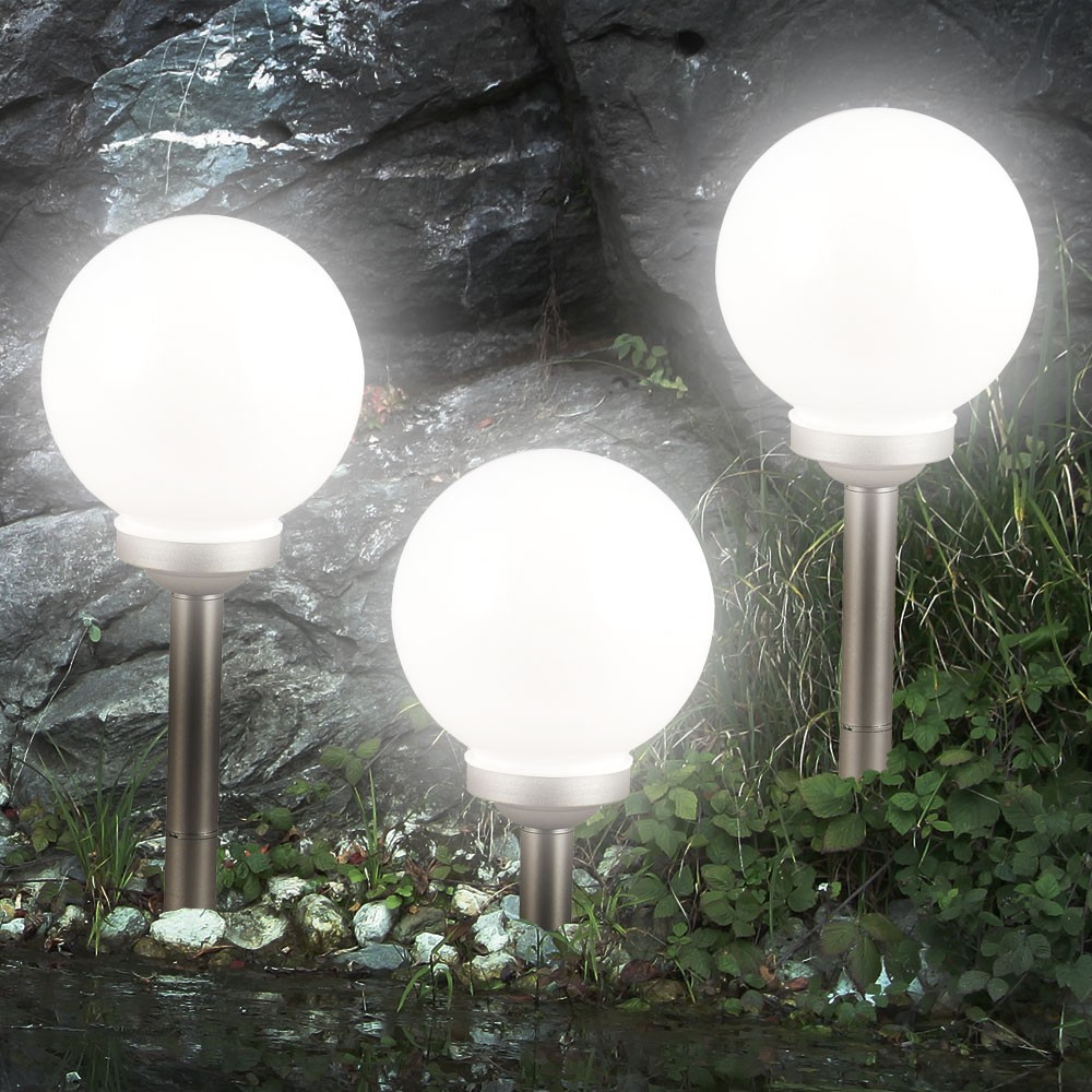 20cm 3er set led solarleuchte kugel garten beleuchtung au en lampe leuchtkugel ebay. Black Bedroom Furniture Sets. Home Design Ideas