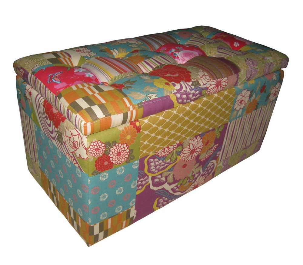 patchwork hocker sitzbank armlehnstuhl stauraumbox box bank kiste sessel bunt ebay. Black Bedroom Furniture Sets. Home Design Ideas