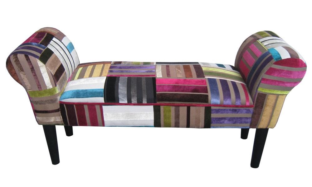 patchwork sitzbank couch sessel sofa armlehnstuhl kinder hocker dekohocker bunt ebay. Black Bedroom Furniture Sets. Home Design Ideas