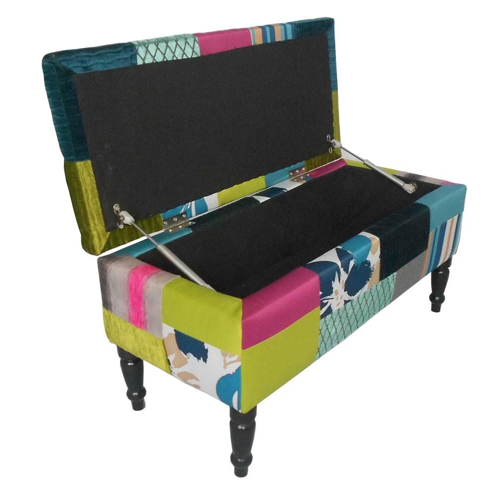 patchwork hocker sitzbank armlehnstuhl stauraumbox box. Black Bedroom Furniture Sets. Home Design Ideas