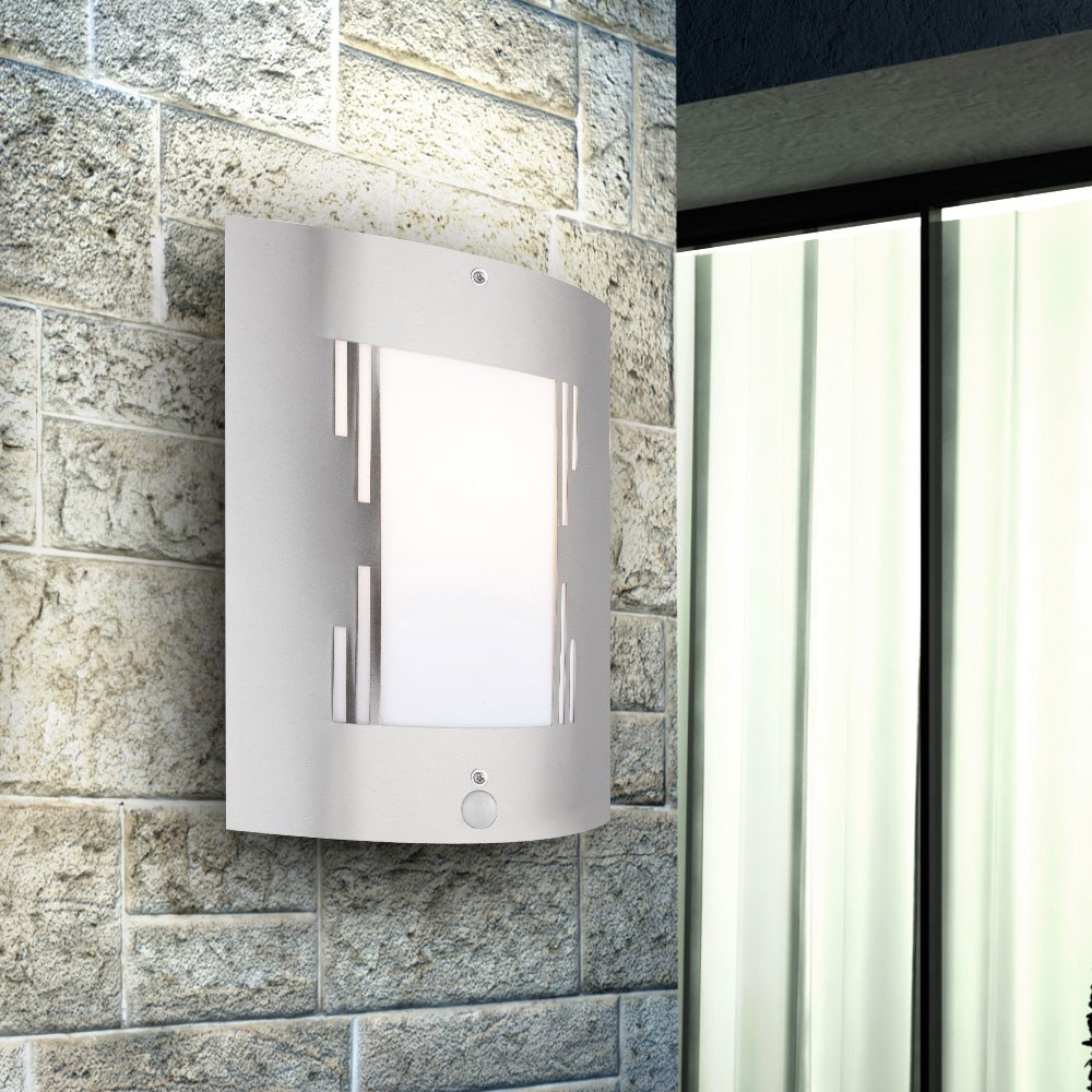 gartenlampe bewegungsmelder wandleuchte beleuchtung aussenleuchte ip44 edelstahl. Black Bedroom Furniture Sets. Home Design Ideas