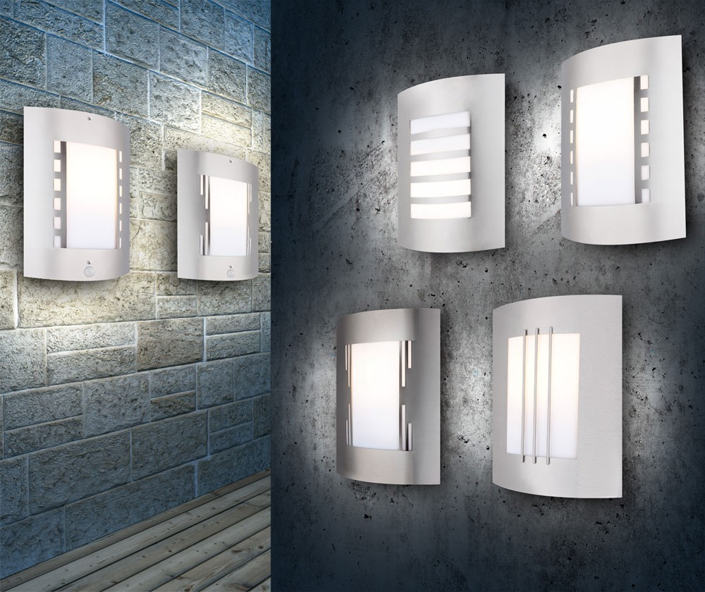 edelstahl garten lampe au enlampe gartenleuchte wand leuchte bewegungsmelder ebay. Black Bedroom Furniture Sets. Home Design Ideas