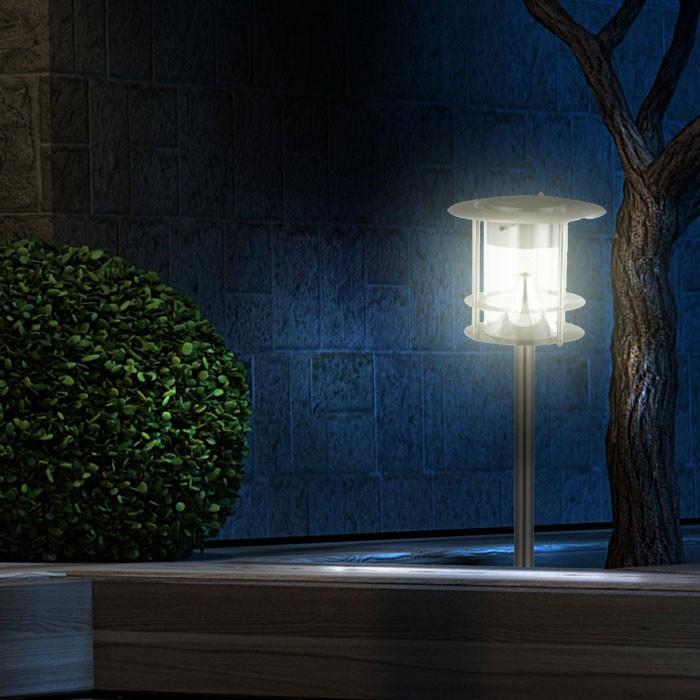 LED-Solar-Gartenleuchte-Wandlampe-Wegleuchte-Standleuchte-Akku-Edelstahl-IP44