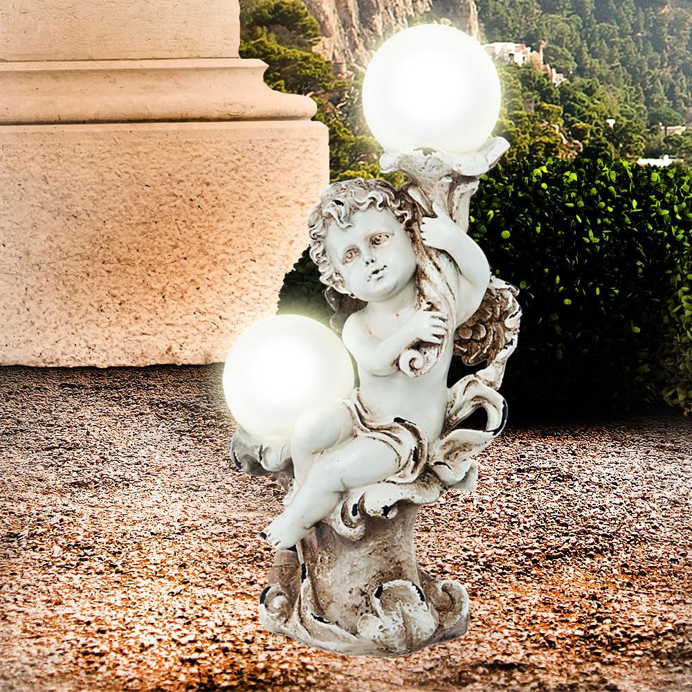 solarleuchte solarlampe engel gartendeko solar figur grab leuchte lampe 2x led ebay. Black Bedroom Furniture Sets. Home Design Ideas