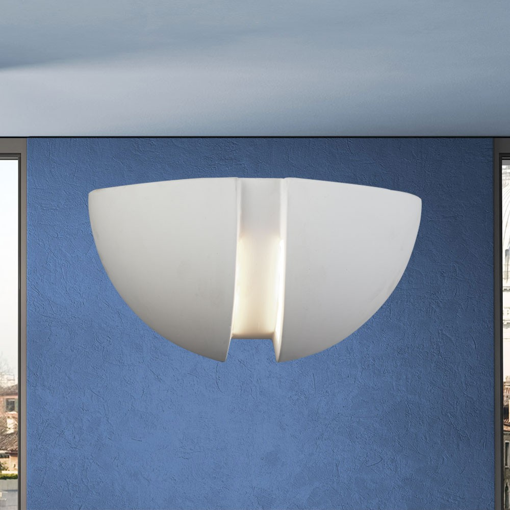 wandlampe wandleuchte flur wohnzimmer esszimmer keramik halbrund bemalbar e27 ebay. Black Bedroom Furniture Sets. Home Design Ideas