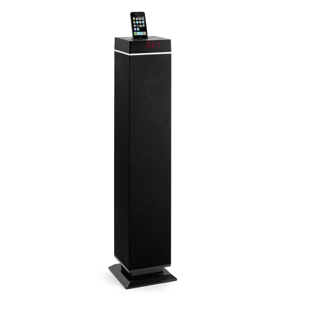 lenco tower lautsprecher system ipod iphone docking station radio stereo anlage ebay. Black Bedroom Furniture Sets. Home Design Ideas