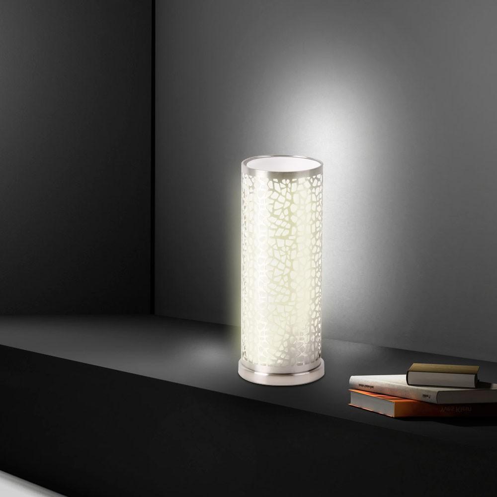 tischleuchte stahl zylinder tischlampe glas lampe leuchte beleuchtung licht neu ebay. Black Bedroom Furniture Sets. Home Design Ideas