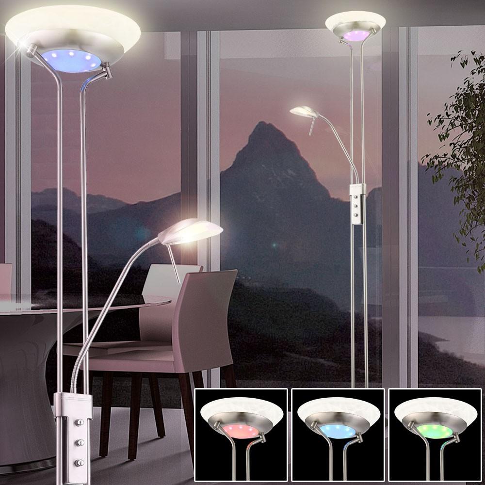 deckenfluter led 20 watt standleuchte farbwechsler dimmer leselampe lampe rgb ebay. Black Bedroom Furniture Sets. Home Design Ideas