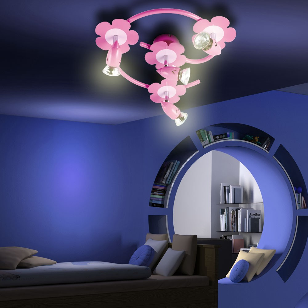kinderzimmer spielzimmer rosa deckenlampe 4 halogen. Black Bedroom Furniture Sets. Home Design Ideas