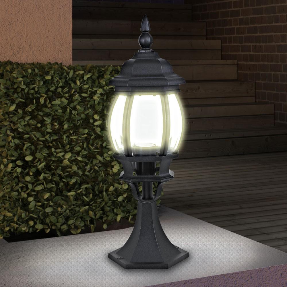 black victorian style 4 5 w led pedestal outdoor light